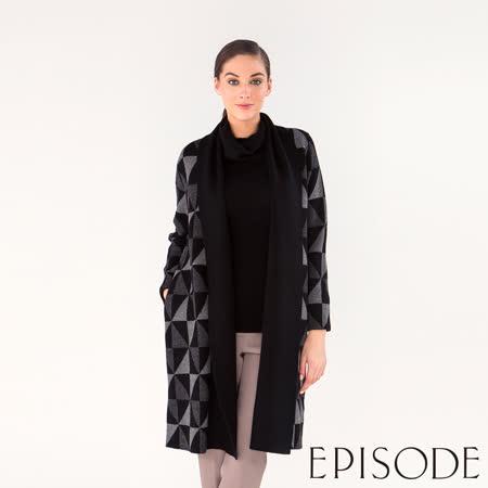 EPISODE - 幾何時尚長版羊毛開襟衫外套(黑)