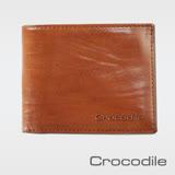 【Crocodile】條紋澀皮系列拉鍊雙鈔短夾 0103-08503-02