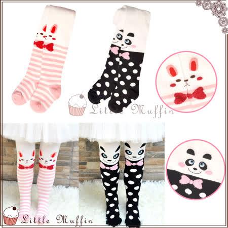 韓 可愛小動物們毛線保暖連身褲襪 腳底防滑 2件一組 熊貓/兔兔