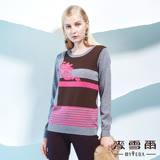 【麥雪爾】拼接條紋義大利針織羊毛衣-灰