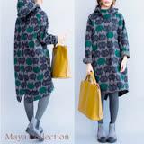 【Maya Collection】內刷絨綿連帽長版CAT滿版衫