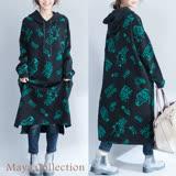 【Maya Collection】厚綿絨漫畫風格長版連帽連衣裙