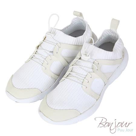 BONJOUR☆免綁鞋帶!針織襪套休閒運動鞋Sock shoes【ZB0308】白