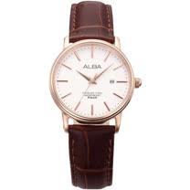 ALBA 精緻淑女 石英錶 皮革錶帶 防水50米 AH7C50X1