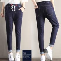 SCL深色修腿顯瘦鬆緊腰身窄版牛仔褲 B1740
