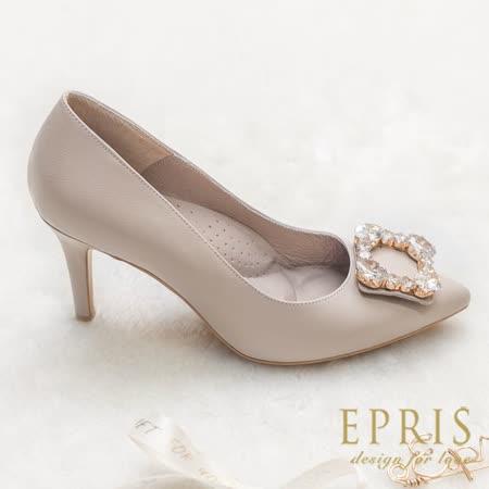 現貨 MIT婚鞋新娘鞋尖頭鞋推薦品牌 蜜桃女神 全真皮100%牛皮高跟鞋 21-25.5 EPRIS艾佩絲-奶茶裸
