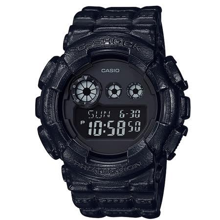 【CASIO 卡西歐】G-SHOCK 仿真皮革風格運動錶-黑/GD-120BT-1