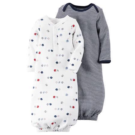 嬰幼薄款防踢睡袍兩件組_條紋羽球類(CTSG001)