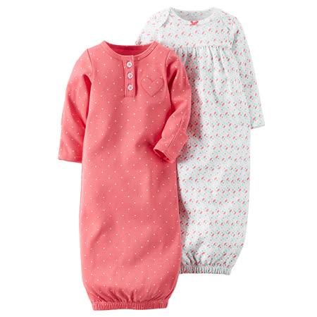 嬰幼兒秋冬防踢睡袍兩件組_桃紅與彩色點點(CTSG002)