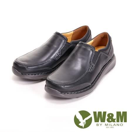 【W&M】寬楦懶人系列 直套式紳士休閒 男皮鞋-黑(另有咖)