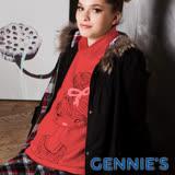 Gennies奇妮-010系列-蝴蝶結女孩印花孕婦上衣(紅T3265)