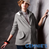Gennies奇妮-010系列-甜美簡約可拆帽休閒外套(灰T3246)