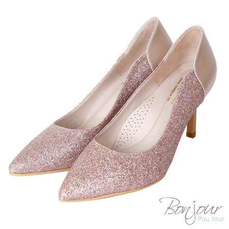 BONJOUR☆軟綿綿8cm好走氣墊尖頭高跟鞋Wedding shoes【ZB0310-8】粉金