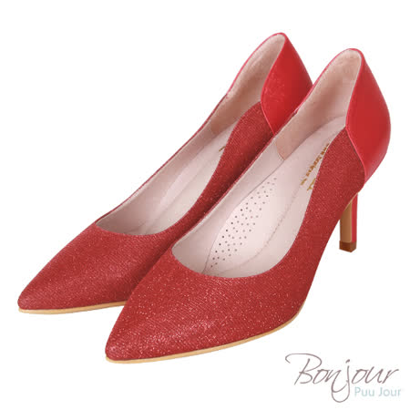 BONJOUR☆軟綿綿8cm好走氣墊尖頭高跟鞋Wedding shoes【ZB0310-8】紅