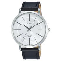 ALBA  石英男錶 皮革錶帶 銀白 防水50米 AH8407X1