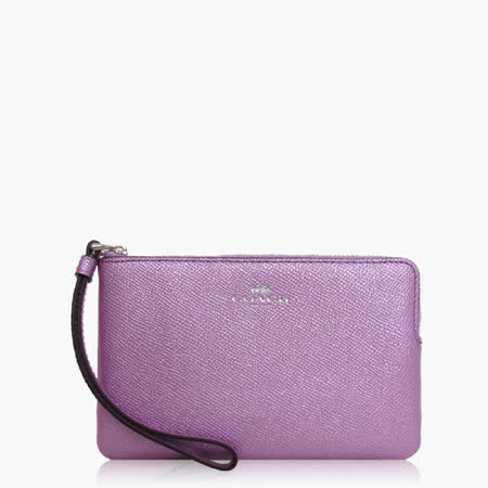 COACH 攜帶便利 皮革 / 零錢收納 / 手拿包(小款)_金屬紫