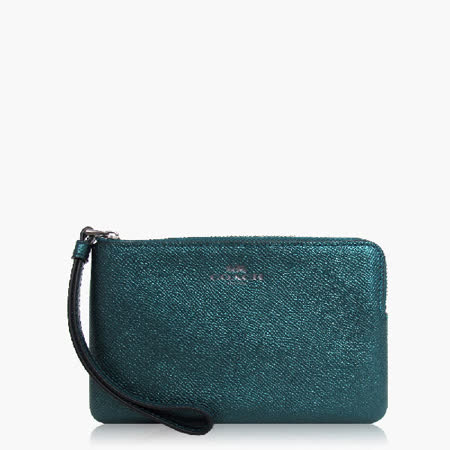 COACH 攜帶便利 皮革 / 零錢收納 / 手拿包(小款)_金屬藍綠