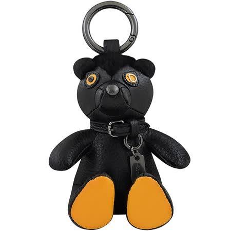 COACH 皮革縫製泰迪熊立體大型鑰匙圈吊飾