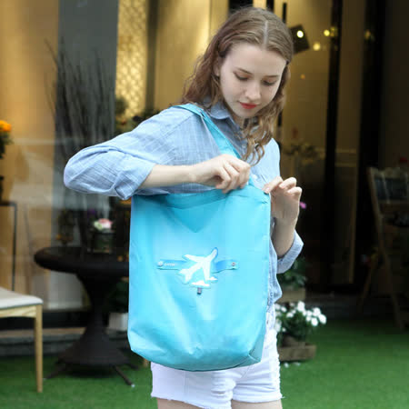 E.City_可折疊圖案式防潑水帶扣環保購物袋收納袋(1入)