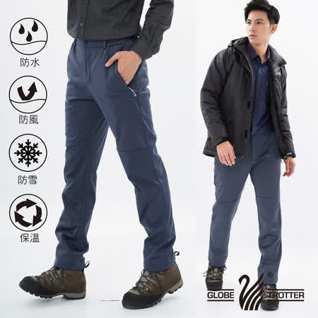 【遊遍天下】男款3D顯瘦防水防風禦寒刷毛褲(雪褲)GP20003灰藍