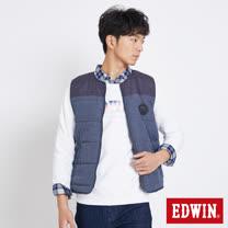 EDWIN 仿牛仔紋剪接背心外套-男-拔洗藍