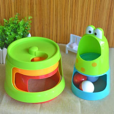 兒童玩具 旋轉彩虹嬰兒疊疊樂 青蛙造型滾塔疊疊杯