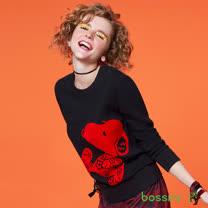 bossini女裝-史努比系列厚棉運動衫01黑