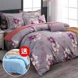 【買就送蓄暖被】歐香花苑 雙人八件式兩用被床罩組(贈品顏色隨機)