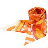 HERMES 愛馬仕Rose de Compas萬花筒圖騰造型Twilly絲巾(橘-一組兩條)