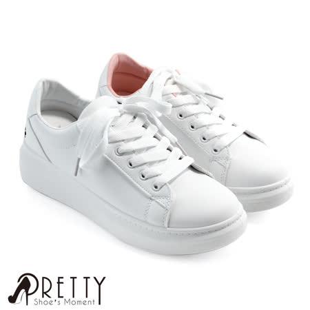 【Pretty】俏皮猫咪脚印绑带休闲板鞋/小白鞋