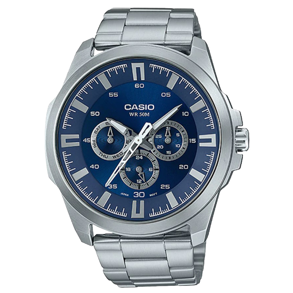 CASIO 卡西歐 三眼男錶 不鏽鋼錶帶 防水50米 滑動式錶針 MTP~SW310D~2