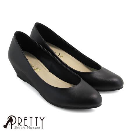 【Pretty】OL通勤款百搭素面尖头楔型鞋