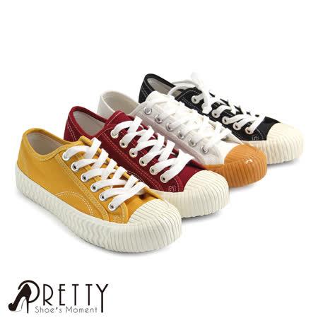 【Pretty】韩系休闲绑带帆布饼干鞋