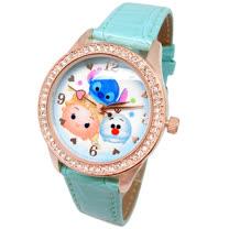【迪士尼 】TsumTsum系列 - 就愛疊在一起 艾莎、雪寶、史迪奇   玫瑰金 珠框 水鑽腕錶