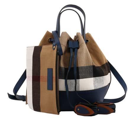 【BURBERRY】Canvas格紋棉麻手提/肩背二用水桶包(小型)(海軍藍)