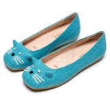 DIANA 漫步雲端瞇眼款--cute貓咪娃娃平底鞋-土耳其藍