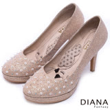 DIANA 漫步雲端LADY款--水晶繽紛花朵晚宴跟鞋-金
