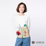 CHICA Bonjour!午後香榭圖騰設計上衣(1色)