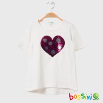 bossini女童-圓領短袖亮片T恤