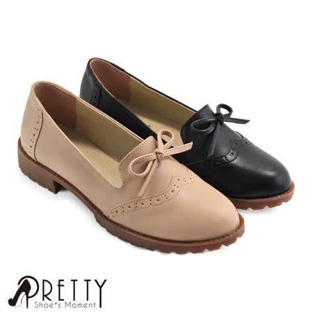 【Pretty】甜美雕花蝴蝶结低跟乐福鞋
