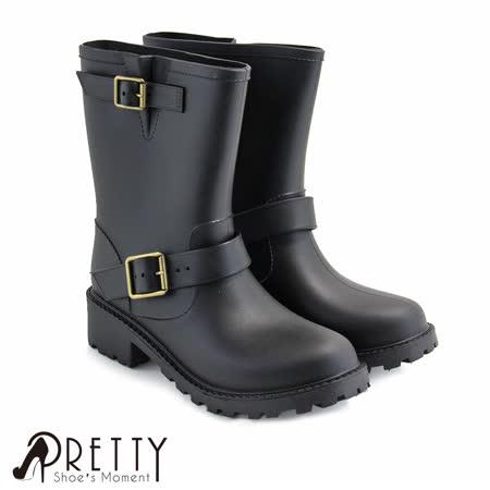 【Pretty】个性皮带扣饰中筒雨靴