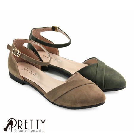 【Pretty】质感反折造型侧扣绕踝平底尖头包鞋