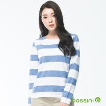 bossini女裝-橫條圓領長袖上衣