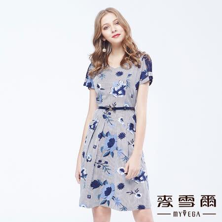 【麥雪爾】直條紋V領刺繡蝴蝶結腰帶洋裝