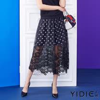 【YIDIE衣蝶】波浪圓點鏤空蕾絲織花八分裙