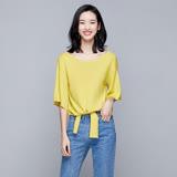 【nata】純色寬袖打結上衣(黃)