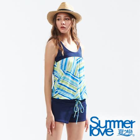 【SUMMERLOVE夏之戀】大女條紋印花連身褲兩件式泳衣S18702