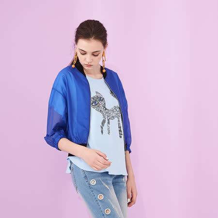 ICHE 衣哲 時尚雪紡拼接短版七分袖棒球造型外套 -藍