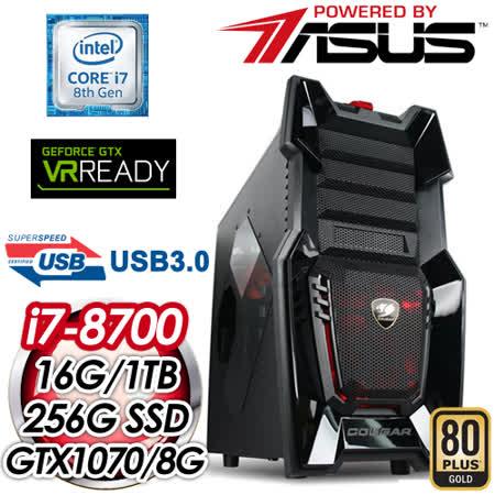 华硕 HIGHER【暗黑仲裁者】Intel i7-8700六核心 DUAL-GTX1070强效独显 1TB+760P 256G 高效能SSD电竞电脑