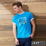 JEEP叢林冒險印花短袖TEE-藍色